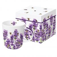 Porzellan-Henkelbecher - Bees & Lavender Trend