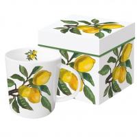 Porzellan-Henkelbecher - Lemon Musée white Trend