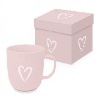 Porzellan-Henkelbecher - Pure Heart rosé Matte