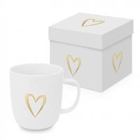 Porzellan-Henkelbecher - Pure Heart gold Matte