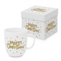 Porzellan-Henkelbecher - Merry Christmas gold