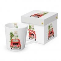 Porzellan-Henkelbecher - Christmas Taxi