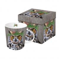 Porzellan-Henkelbecher - Winter Berry Owl