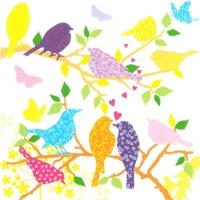 Servietten 33x33 cm - Vögel in Liebe