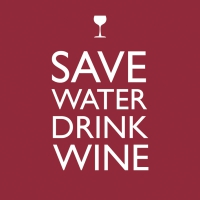 Servietten 33x33 cm - Save Water Drink Winecm