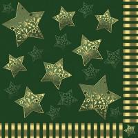 20 Servietten 33x33 cm - Sparkling Stars grün