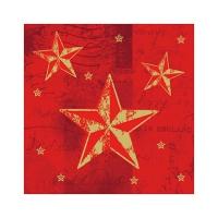 50 Servietten 25x25 cm - Star Shine rot