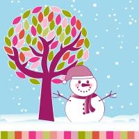 20 Servietten 33x33 cm - Snowman under the Tree