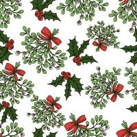 20 Servietten 33x33 cm - Holly and Mistletoe weiss