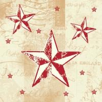 50 Servietten 25x25 cm - Star Shine creme/rot