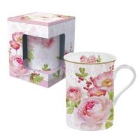 Porzellan-Henkelbecher - Floral Damask