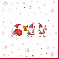 Servietten 33x33 cm - Christmas Gnomes