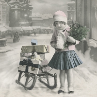 Servietten 33x33 cm - Girl with sled