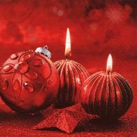 Servietten 24x24 cm - Glittering Red Candles