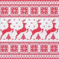 Servietten 25x25 cm - Deers with Trees red