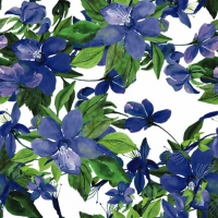 Servietten 24x24 cm - Flowering Clematis blue