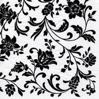 Servietten 24x24 cm - Arabesque White white-black