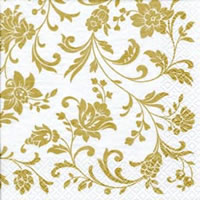Servietten 24x24 cm - Arabesque White gold-white