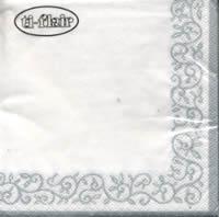Servietten 25x25 cm - Romantische Bordüre silber-weiß