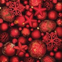Servietten 33x33 cm - Bolas Rojas de Navidad