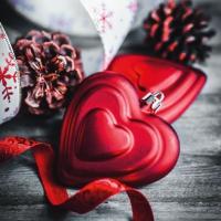 Servietten 33x33 cm - Heart Baubles