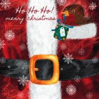 Servietten 33x33 cm - Robin sitzt in der Santas-Mantel-Tasche.