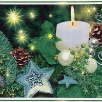 Servietten 33x33 cm - White Candle & Stars