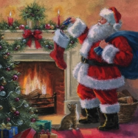 Servietten 33x33 cm - Santa placing Presents in Stockings