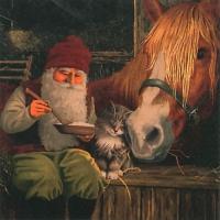 Servietten 33x33 cm - Nisse mit Pferd