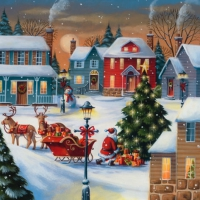 Lunch Servietten Christmas Village with Santa