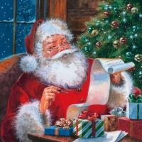 Servietten 33x33 cm - Weihnachtsmann prüft Wunschliste