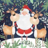 Servietten 33x33 cm - Santa & Funny Reindeers