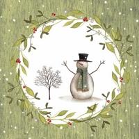 Servietten 33x33 cm - Snowman with Tree green