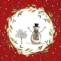 Servietten 33x33 cm - Snowman with Tree red