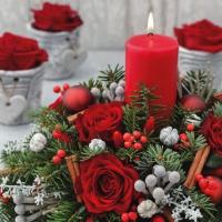 Servietten 33x33 cm - Candela Rossa di Natale