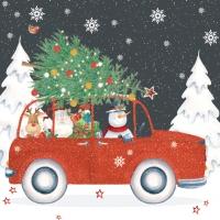 Servietten 33x33 cm - Red Christmas Car
