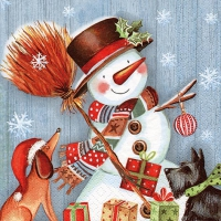 Servietten 33x33 cm - Snowman with Broomstick