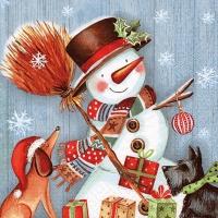 Servietten 33x33 cm - Snowman with Broomstick