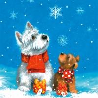 Lunch Servietten Two Dogs enjoy the Snow