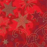Servietten 33x33 cm - Stars are Shining red