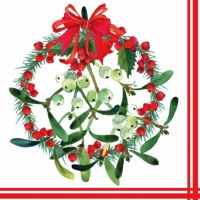 Servietten 33x33 cm - Mistletoe Wreath