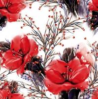 Servietten 33x33 cm - Zwei Amaryllis rot