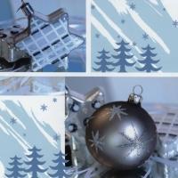 Servietten 33x33 cm - Prettige Kerstdagen silber