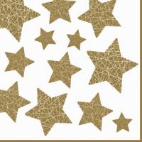 Servietten 33x33 cm - Stelle Lucenti white/gold