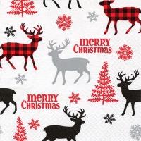 Servietten 33x33 cm - Hirsche & Bäume & Schneeflocken rot/grau