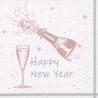 Servietten 33x33 cm - Happy New Year shiny rosé