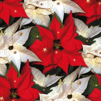 Servietten 33x33 cm - Poinsettia with Stars