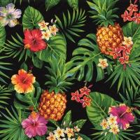 Servietten 33x33 cm - Pineapples & Palmleaves black