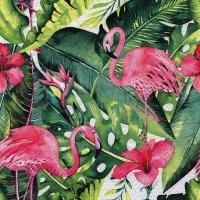 Servietten 33x33 cm - Flamingo & Hibiscus