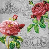 Servietten 33x33 cm - Deux Roses Classique black